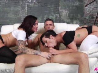 Jada Stevens and Karmen suck and fuck a big cock