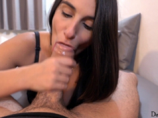 Moaning cocksucker drain nutz with her mouth and lick up my cum-POV