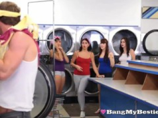 Pervert Guy Fucks Hot Naked College Pals In The Laundromat