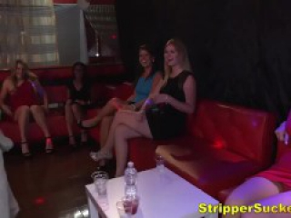 Shameless Women Sucking & Fucking Stripper Cocks At CFNM Club